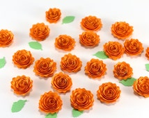 "20 Ocher Paper Quilled Flowers with Spring Green Leaves - 3/4"" Small Paper Roses - for Crafts Scrapbooking Cardmaking Applique Embelishment"