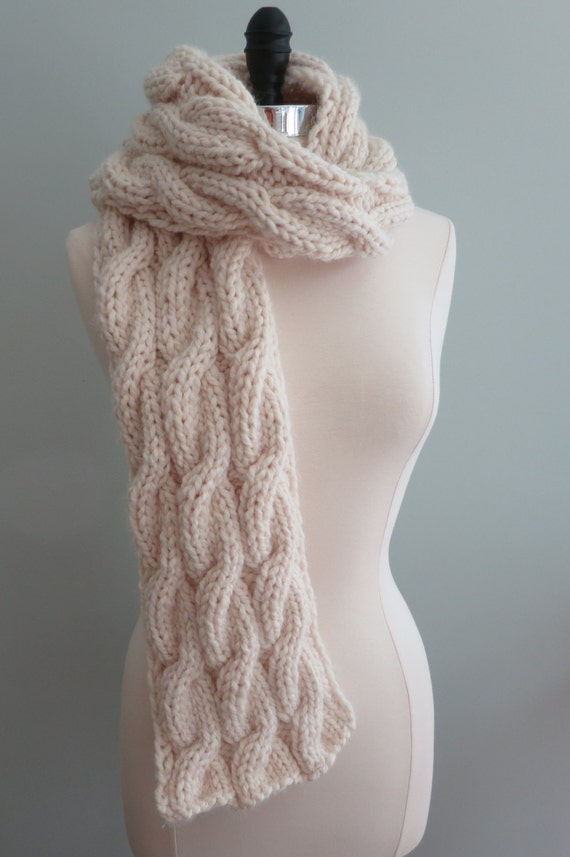 Bulky Scarf Knitting Pattern : Scarf Knitting Pattern, Bulky Scarf, Cable Scarf from WomanOnTheWater on Etsy...