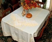 Vintage  Banquet Tablecloth, 12 Matching Napkins,  Yellow Gold Damask Set, Thanksgiving Dinner, Christmas, Dinner Parties