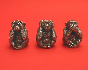 Thimble See No Evil Hear No Evil Speak No Evil Monkeys Pewter Collectible Thimbles The Three Wise Monkey Thimbles