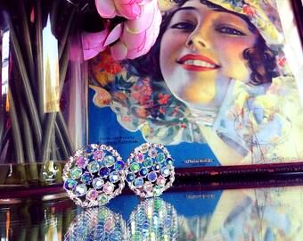 Vintage Emmons Circular Aurora Borealis Clip Earrings