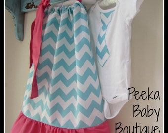 Matching Sibling Outfit Set in Blue Chevron with Pink Ruffle/Straps