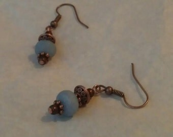 Sky Blue Dyed Agate and Copper Earrings