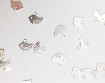 Cute Little Antique Silver Bird Charms // Combo Bracket 2 {CS068}