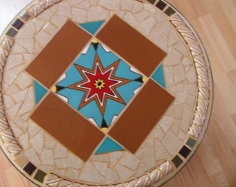 "20"" round 18"" high patio or indoor tables. Ceramic tile designs"