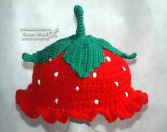 crochet hat strawberry