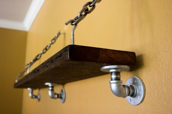 Rustic Reclaimed Old Wood Shelf With Pipe And Chain Wall
