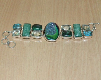 Green Amethyst & Titaniun Druzy,Turquoise,Malachite,Amazonite Gemstone 925 Sterling Silver Bracelet,Stone Bracelet,Bohemian Silver Bracelet