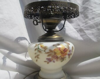 Vintage Hurricane Lamp, Floral Pattern with Dual Lighting