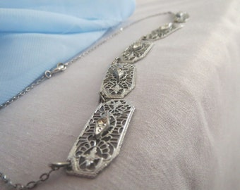 Extraordinary Art Deco Filigree Panel Necklace