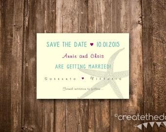Save The Date- Beach Wedding, Starfish- Digital