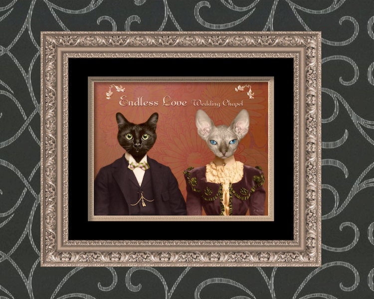 Cat Art Print Funny Wedding Gift by WatchfulCrowArts on Etsy