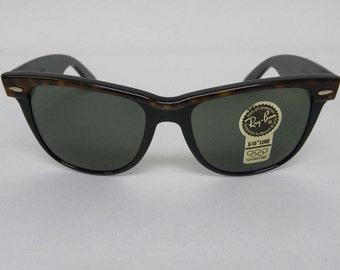 New Vintage B&L Ray Ban Wayfarer II Tortoise Ebony Black G-15 54mm W0530 Sunglasses usa