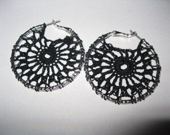 Black Crochet Hoop Earrings