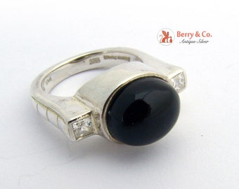 Modern Ring Sterling Silver Onyx and CZ