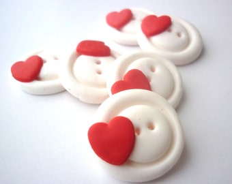 Polymer clay buttons-Red Heart shaped buttons-Round buttons with heart handmade with polymer clay