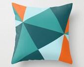 "Orange Blue Teal  Geometric Shapes Squares Triangle Throw Pillow Cover Pillowcase 40x40 cm / 16""x16"""