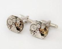 Steampunk Cuff links Silver Metal Clockwork Cufflinks Xmas Gifts for Men Steampunk Husband Gift Idea Watch Movement Elegant Cufflinks
