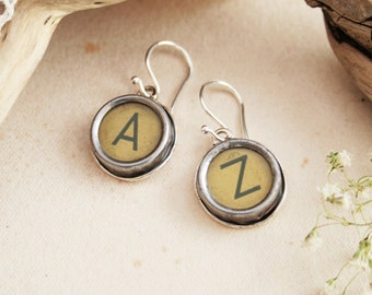Typewriter key Earrings Custom made Monogram Earings for a Woman, Customized Letters Initials, Authentic old typewriter key jewelry