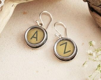 Typewriter key Earrings Custom made Letter Earrings for a Woman, Customized Letters Dangle Earrings , Old typewriter key jewelry