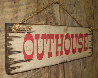 Outhouse, Antiqued, Wooden Sign