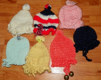 Vintage Mixed Lot of 7 Infant Baby Doll Knit Hats Caps Bonnets Newborn Reborn American Baby Supplies Handmade Christmas