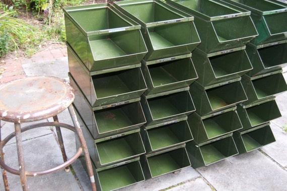Industrial Stacking Containers : Large vintage industrial green metal stackable storage bins
