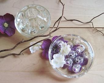 2 Vintage glass flower frogs Spring garden wedding shower table - Art studio brush  and pen holder  / 0218