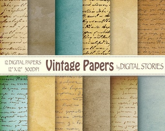 "Old paper digital paper pack: ""VINTAGE PAPERS"" Textured handwritting papers for scrapbooking, invites, cards, background"