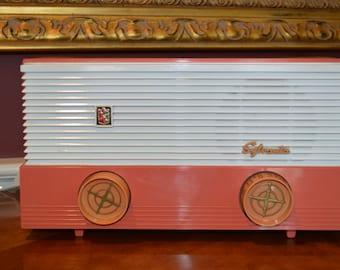 1950's Peach and Orange Sylvania AM Tube Radio Streams the Internet  \\ Bluetooth \\ Vintage Antique Deco \\ Hear It Play \\ Portable
