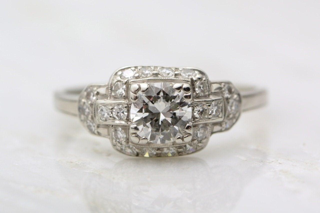 antique platinum edwardian deco 1 15ctw engagement ring