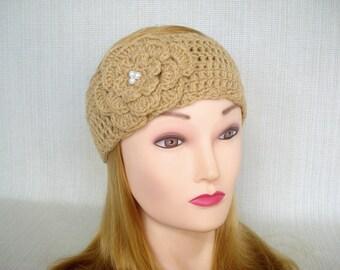 Womens crochet headband Crochet ear warmer headband with flower Crochet head band Adult Winter headband Crochet earwarmer Crochet head wrap