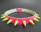 Choker Collar Pink & Yellow Rubber Spikes PVC Choker