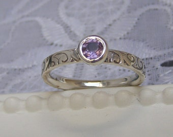 Amethyst ring in Sterling Silver, Amethyst ring made to order, Eco Friendly Silver with Amethyst, Amethyst Ring