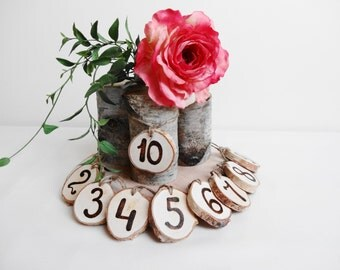 Table Numbers, Wood table Numbers, Birch Table Numbers, Rustic Table Numbers, Wedding Decor, 1-10, 1-15, 1-20,1-25, 1-30