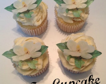 Edible Magnolia Flower Cupcake Toppers
