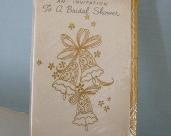 1950s Bridal Shower Invitations with Bells on Front