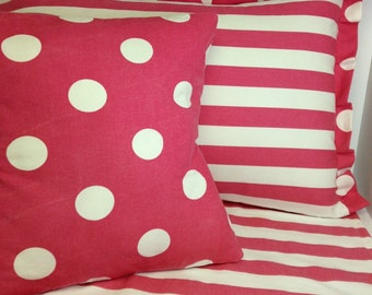 Pink and White Polka Dot pillow cover Zipper closure any size can customize Premier Prints