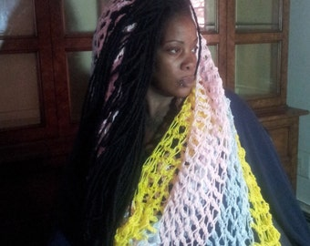 """Based in NYC - I call this one """"Cotton Candy Stretch Surprise"""" This is a Infinity Scarf or a  Body Wrap - Pink, Yellow and Baby Blue Soft"""