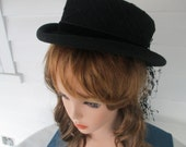 Vintage Black 100% Wool Hat With Trelis Veil And Velvet Ribbon Made By Fair Field Felts Women Accessories Gifts Apparal High Fashion