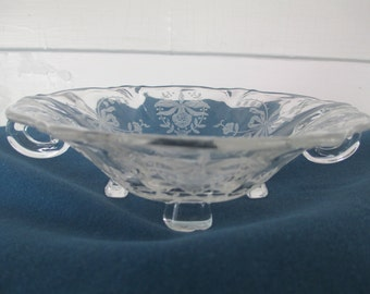 Vintage Heisey Etched Orchid Footed Bowl With Handles Depression Glass Collectibles