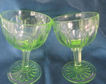 Vintage Green Vaseline Uranium Barware Stemmed Wine Glasses Set Of 2 Collectible Barware Glassware
