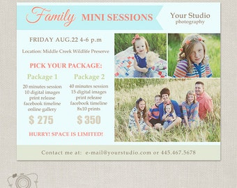 Family Mini Session Template - Photography Marketing Board 064 - C216, INSTANT DOWNLOAD