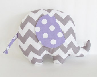 Grey Chevron and Lavender Polka Dot Stuffed Elephant Baby Toy Pillow, Nursery Pillow Decor, Photography Prop