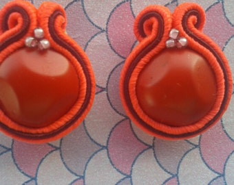 small earrings coral red and Burgundy soutache