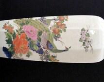 Vintage 1960s Tall Porcelain Japanese Peacock and Flower Vase in Shoza Style Interpur Japan Kutani