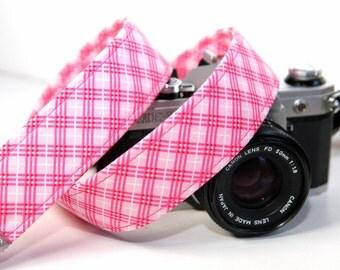 Pink Plaid Camera Strap for DSLR - Farm Girl Plaid