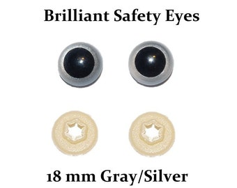 18mm Safety Eyes Silver Gray Brilliant with Round Pupil (One Pair)