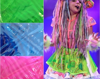 Choose Color Lady Gaga ArtRave Neon plastic see through skater skirt - custom made to order - rave costume - tutu ARTPOP Halloween