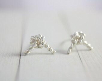 Sterling Silver Rope Earrings, Silver Knot Earrings, Tied Earrings, Knot Earrings, Silver Earrings, Handmade Earrings, Earrings, Women, Gift